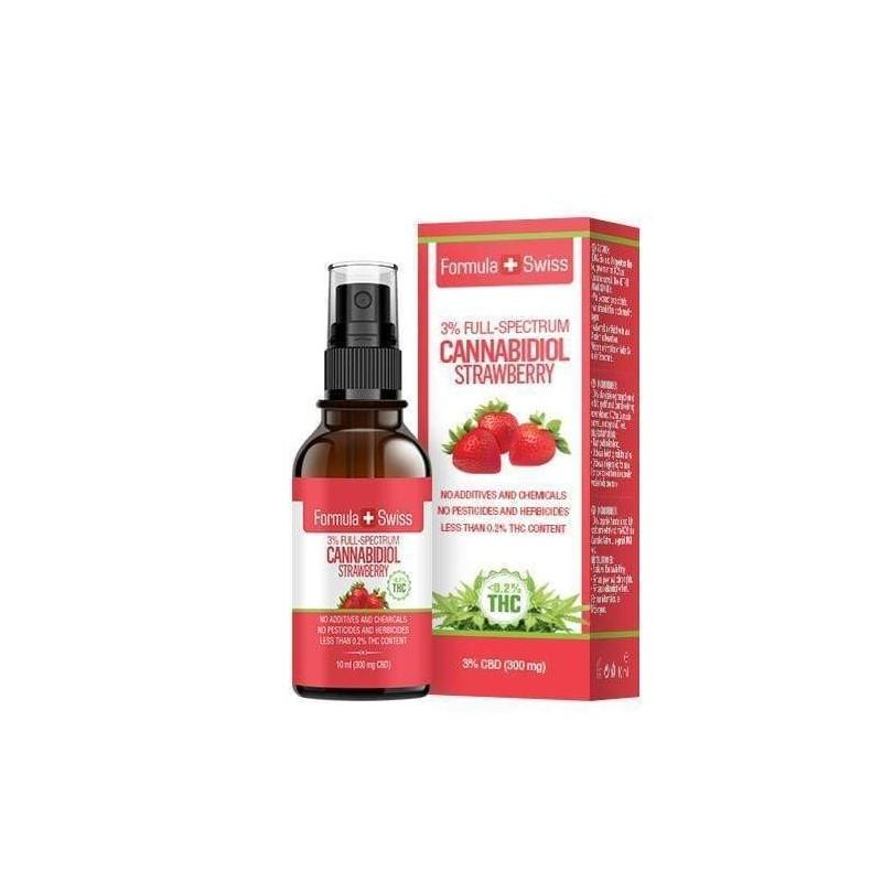 Huile de CBD de 3 à 25% dans l'huile de TCM - arôme fraise  Formula Swiss