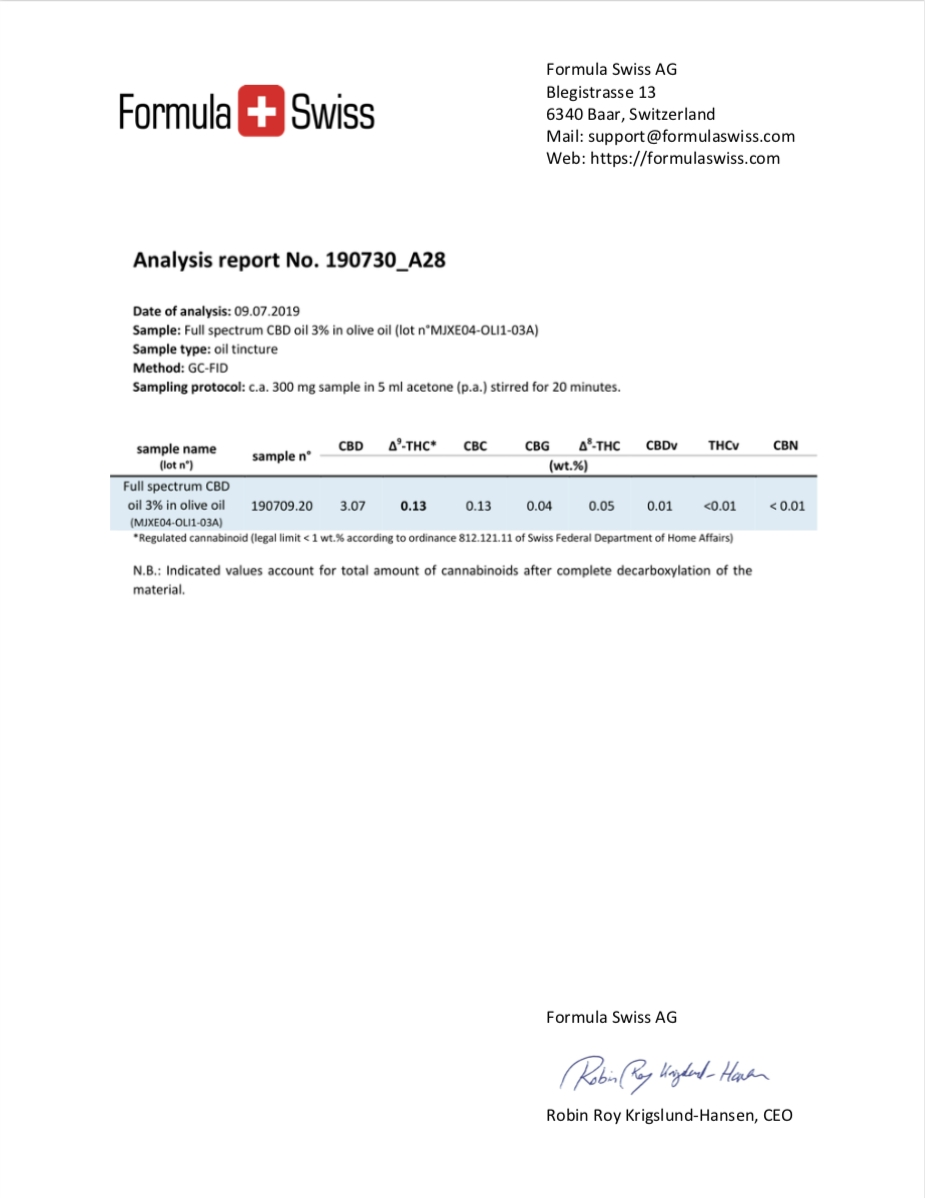 analyse huile 3%